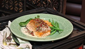 Pepper-Crusted Salmon with Tomato-Basil Beurre Blanc
